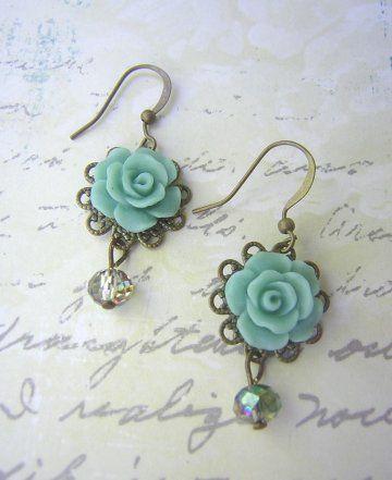 Vintage Rose Earrings - Seafoam Crystal