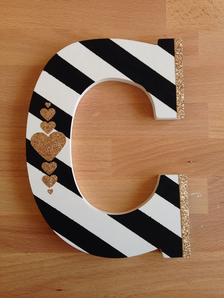Sweet baby shower gift - hand painted wood initial. www.toastedparties.com