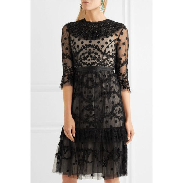 Needle & Thread Shadow embellished lace dress ($430) ❤ liked on Polyvore featuring dresses, sparkly cocktail dresses, long sleeve floral dress, long sleeve dress, long-sleeve floral dresses and sparkly dresses