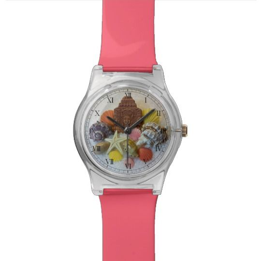 Mystic Energy Seashells and Starfish Watch by www.zazzle.com/htgraphicdesigner*