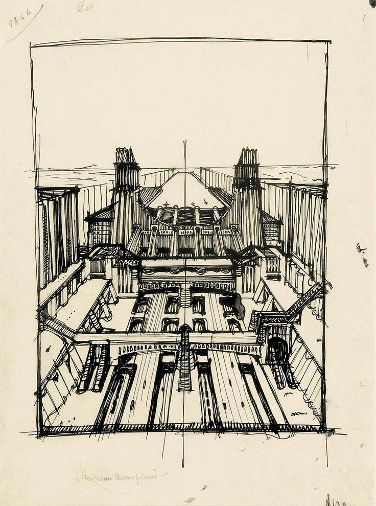 "Antonio Sant'elia, ""Station for Trains and Airplanes"" (1914) @ Guggenheim NYC's ""Italian Futurism"" Show (2014)"