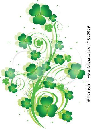 Royalty-Free Vector Clip Art Illustration of a Green St Patricks Day Shamrock Vine Design Element by Pushkin