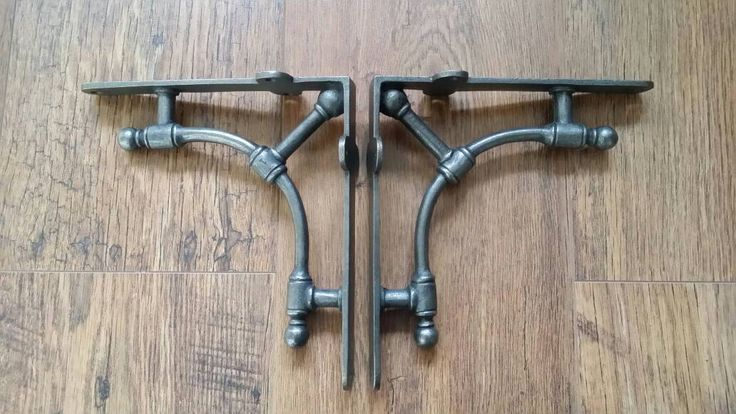"Gas Pipe Industrial Style Brackets 1 Pair 7"" x 7.5""  Wall Shelf Brackets Cast iron Bracket DIY gift by UrbangrandmasAttic on Etsy https://www.etsy.com/listing/501098883/gas-pipe-industrial-style-brackets-1"