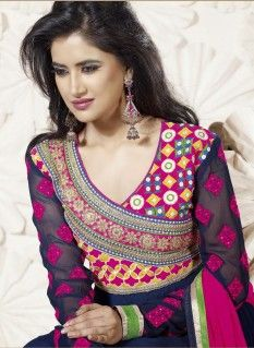 Fab blue patch border work faux georgette anarkali suit with resham work.pair with mathcing bottom and dupatta.