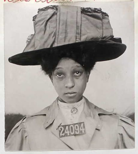 JAILED FASHION: Female inmate of San Quentin State Prison and their very fine hats.  1910s   No. 1