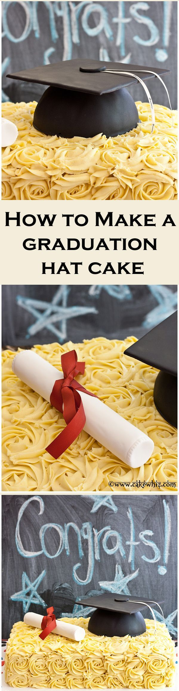 Graduation season is upon us! Learn to make a GRADUATION HAT CAKE for those awesome graduates by following along this simple tutorial! From cakewhiz.com
