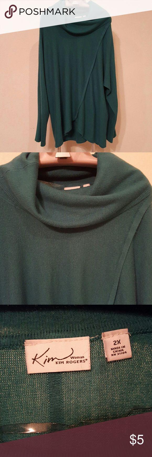 Kim Rogers Cowl neck sweater Teal Kim Rogers cowl neck sweater. Super soft! Used condition Kim Rogers Sweaters Cowl & Turtlenecks