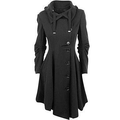 Manteau+Femme,Couleur+Pleine+Décontracté+/+Quotidien+simple+Chic+de+Rue+Manches+Longues+Col+de+Chemise+Noir+Coton+Moyen+Hiver+–+EUR+€+34.29