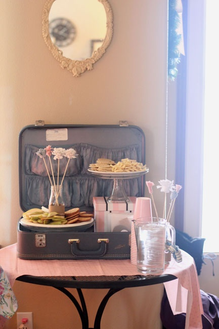 food in the suitcase...this would be great for a going away party!!!