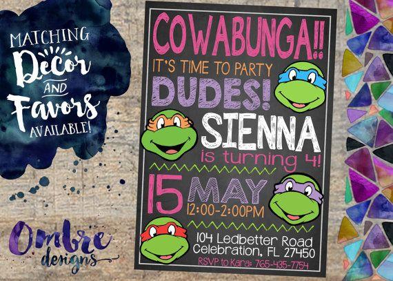 Ninja Turtles Birthday Party Invitation for Girls! (Or Boys!) TMNT, Ninja Turtle, Ninja Turtles, Party, Invite