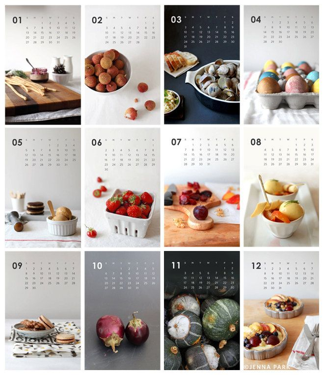2013 Calendar - Food photography - Kitchen Art - Home Decor - Food Calendar…