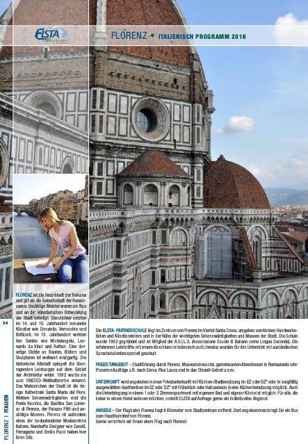 Elsta #Sprachreisen Katalog 2016 Beispielseite #Florenz, #Italien