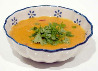 Cremet hokaido suppe med lidt krydderurter