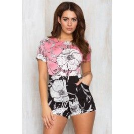 Silk Blossom Contrast Playsuit Pink And Black