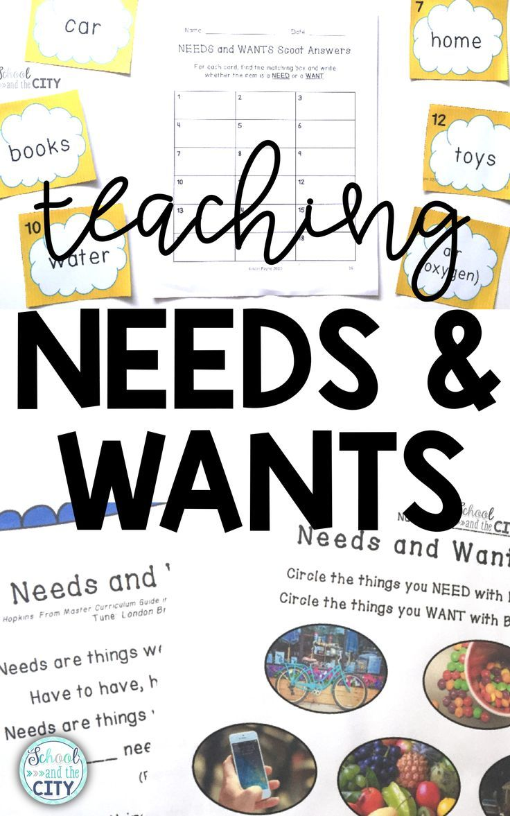 Activities for teaching needs and wants (primary economics and personal  finance)
