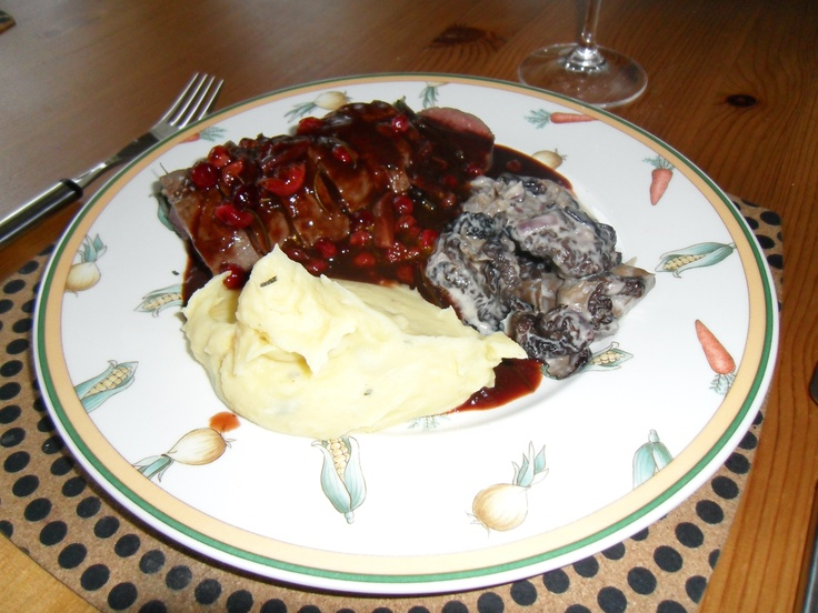 Reindeer fillet with herbs, cranberry sauce, smash of Lappish potatoes and lorchel stew.