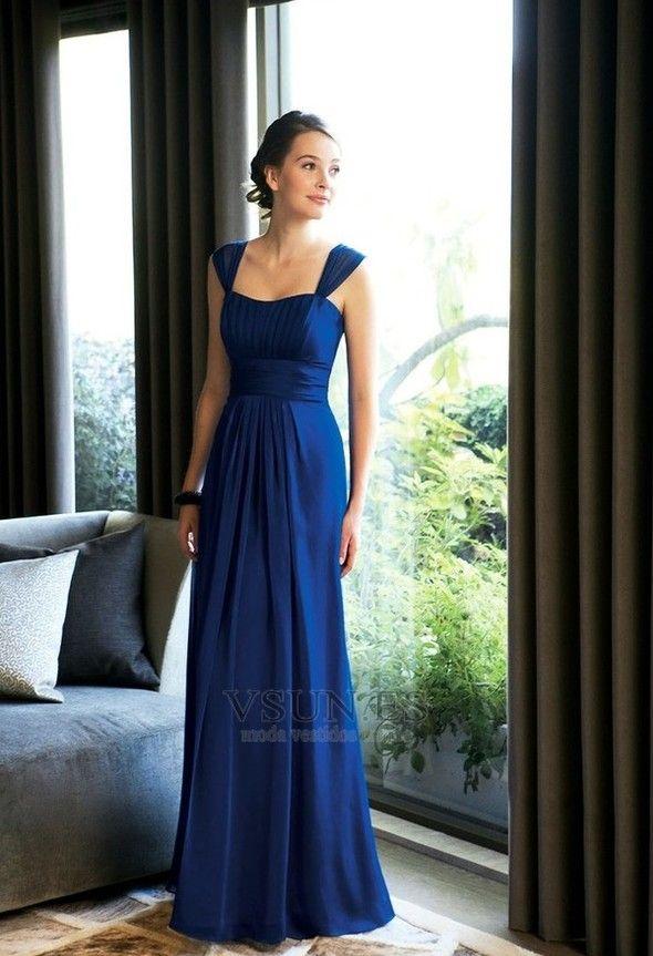 Vestido+de+dama+de+honor+Tiras+anchas+Blusa+plisada+Hasta+el+suelo+azul+marino