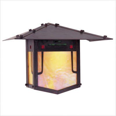 "Arroyo Craftsman PDW Pagoda Outdoor Wall Lantern by Arroyo Craftsman. $566.60. Arroyo Craftsman PDW Features: -Pagoda collection. -Available in several finishes. -Only offered with green, red and gold white iridescent combination (GRC) glass. -UL listed. -Suitable in wet location. Specifications: -Accommodates: 1 x 100W medium or 1 x 60W A15 incandescent bulb. -Available sizes:. -12"" Overall dimensions: 12"" H x 17"" W x 8.5"" D. -Mounting center to top: 6"". -9"" Overall dimension..."