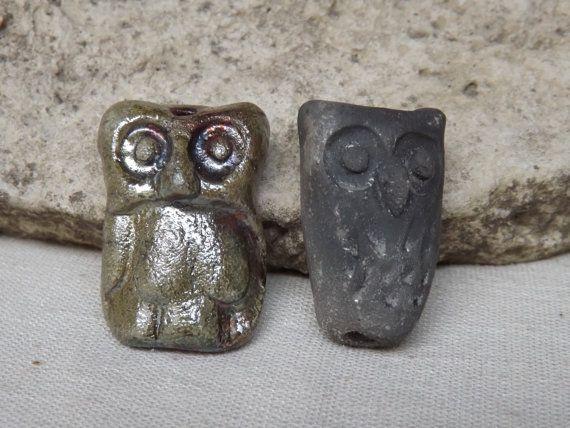 2 Ceramic raku pendants by BlueBirdyDesign on Etsy, €8.00