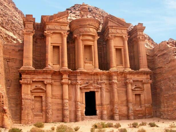 Petra originally known to the Nabataeans as Raqmu is historical and archaelogical city in southern Jordan. The city was famous for its rock-cut architecture and water conduit system. It was established possibly as early as 312 BC as the capital city of the Arab Nabataeans. Petra has been a UNESCO World Heritage Site since 1985.