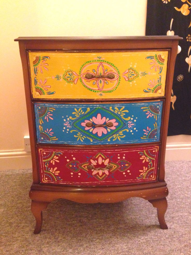 Indian/Moroccan Inspired free hand painted bedside table. Did 2 x in 2 weekends! Boho decor.