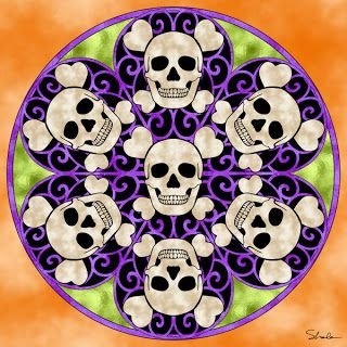 Don't Eat the Paste: Skull mandala to color