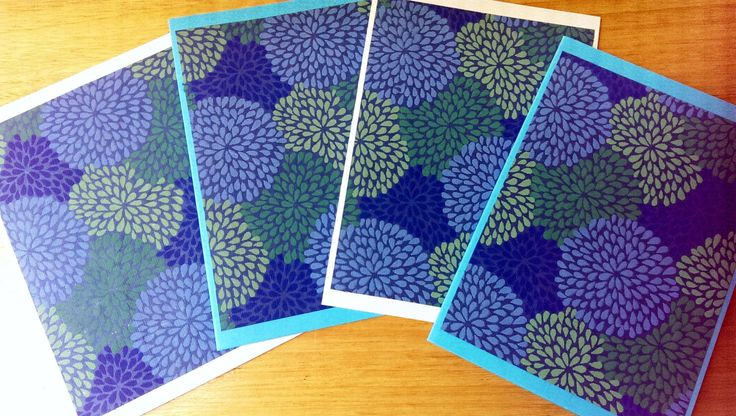 4 handmade cards, pack of 4 blank note cards, beautiful blue papers, handmade stationery, blank note cards by SilverpressShop on Etsy