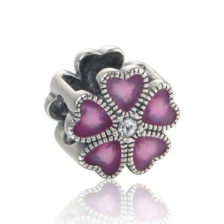 Fiore con smalto viola e zirconi chiari Argento sterling 925 adatta misure Pandora bead, Braccialetto europeo, Braccialetto Pandora di OceanBijoux su Etsy