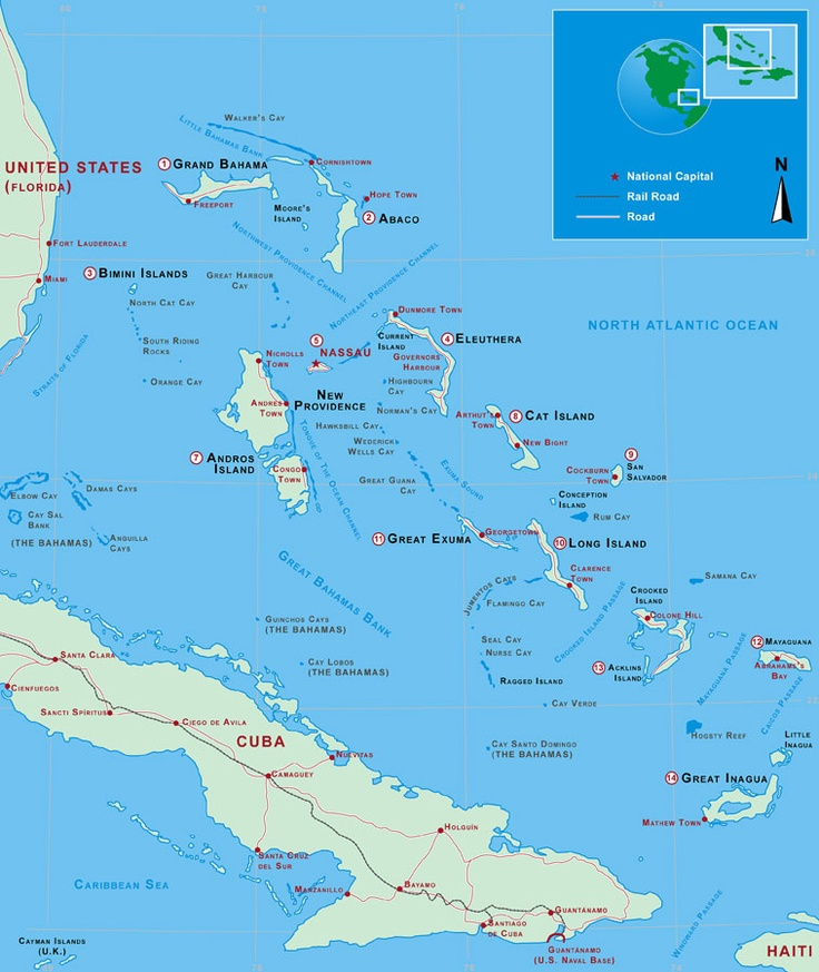 Map of bahamas cuba south eastern florida coastline for Fishing nassau bahamas