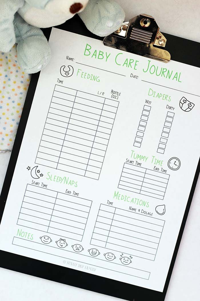 Free Printable Baby Care Journal American