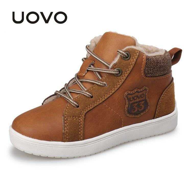 UOVO Autumn Winter Kids Shoes Fashion Boys Casual Lace Up Sport Shoes Warm Comfortable Children Sneaker Kids School Shoes  #Affiliate