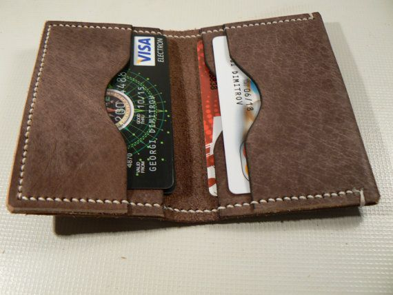 Mens Slim Wallet Minimalist  Leather Brown Wallet Mens by GORIANI