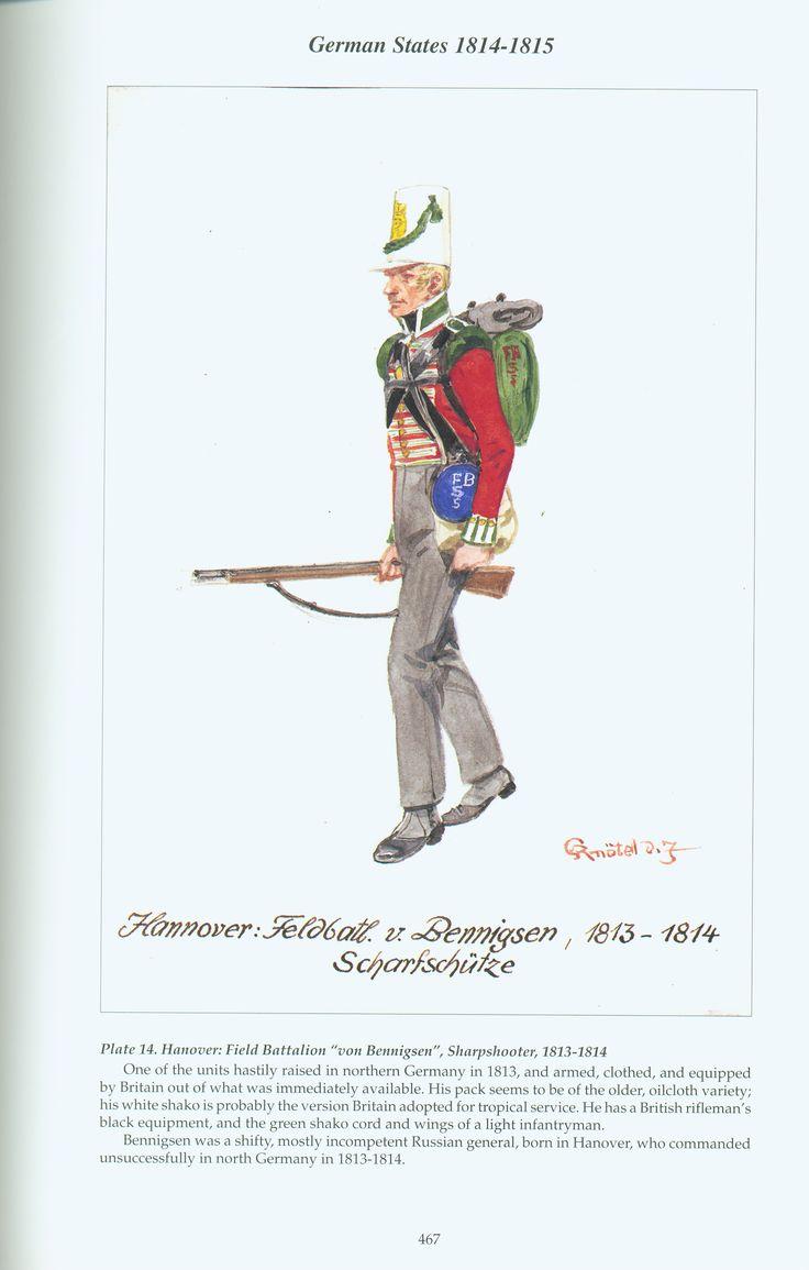 """German States: Plate 14. Hanover: Field Battalion """"von Bennigsen"""", Sharpshooter, 1813-1814"""