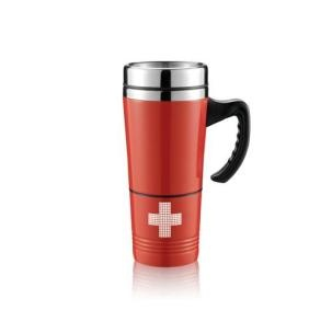 350 ml coffee mug or tea made of stainless steel. Plastic handle ensures that the handle is still cold. Mug dispinuje removable pocket for first aid. Compartment contains: folding scissors, antiseptic pads, tape, bandage tape and patches. According to EN 13485:2003. http://www.odora.eu/product/hrncek-na-kavu-first-aid/