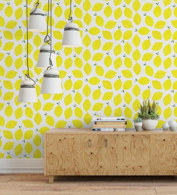 Self Adhesive Yellow Lemon Removable Wallpaper Watercolor Etsy Removable Wallpaper Kitchen Backsplash Panels Backsplash Panels