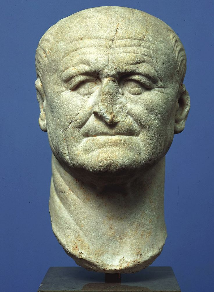 Wk  a) head of Vespasian b) 75-79 flavian dynasty c) marble d) copenhagen e) many more portraits exist bc of lnger reign and was deified after death 60 when in power 70 at death anti-Nero. serious, but unpretentious. military officer, cared about security of empire and welfare of roman ppl deeply receeding hairline, thin lips - loss of teeth.could be mistaken as republican portrait.
