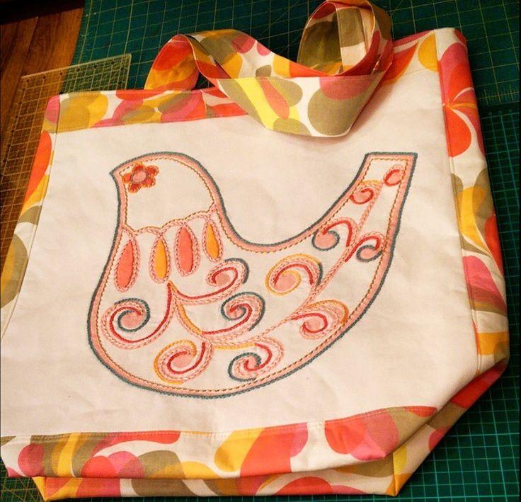 Tote Bag using embroidered Prints Charming panel & fabrics.