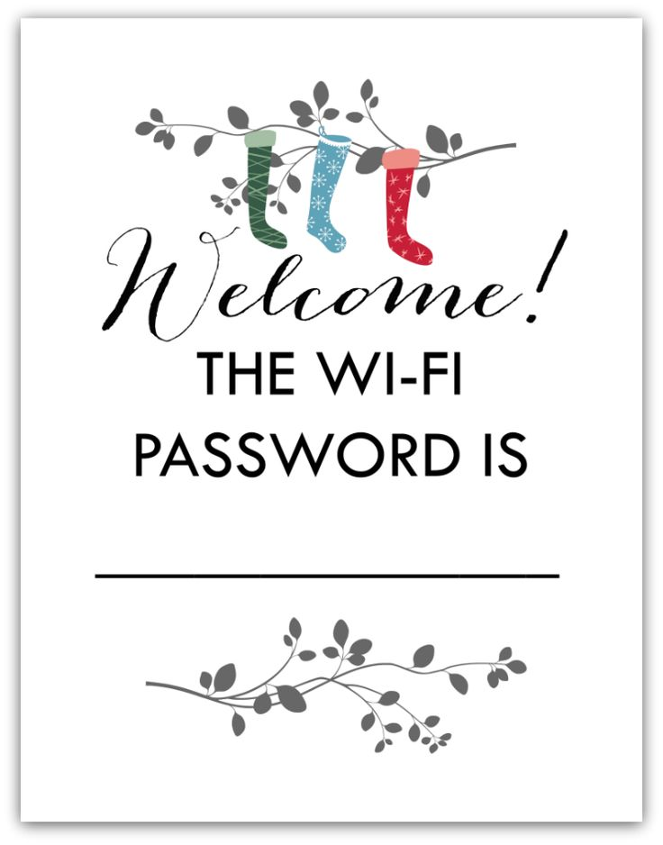 FREE printable WiFi password art for guests. Perfect to hang in a guest bedroom or over the living room bar cart during the Holidays.