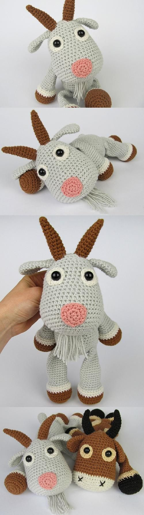 Found at Amigurumipatterns.net. Crochet goat. (Pattern available to purchase).