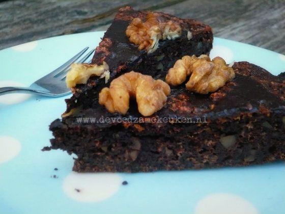 Walnoten-, Chocoladetaart, zonder granen - De Voedzame Keuken