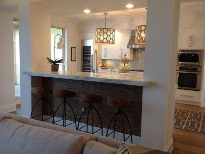 Contemporary Kitchen with Custom Breakfast Bar