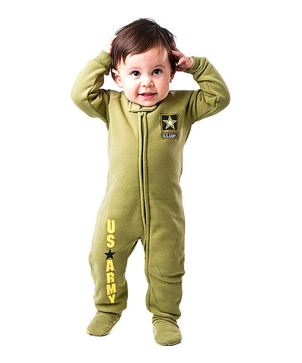 Take a look at this Footed Pajamas Green 'U.S. Army' Footie - Infant on zulily today!