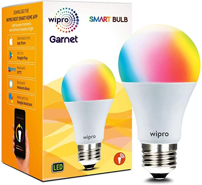 Wipro Wifi Enabled Smart Led Bulb E27 9 Watt 16 Million Colors Shades Of White Compatible With Amazon Alexa And Google Assis Led Bulb Bulb Shades Of White