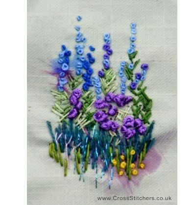 Blue Delphiniums Mini Embroidery Kit - Rowandean Embroidery