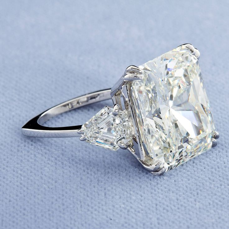 Square Radiant Cut 16.72 Carat J-VS2 GIA Cert Diamond Platinum Ring | From a unique collection of vintage engagement rings at https://www.1stdibs.com/jewelry/rings/engagement-rings/