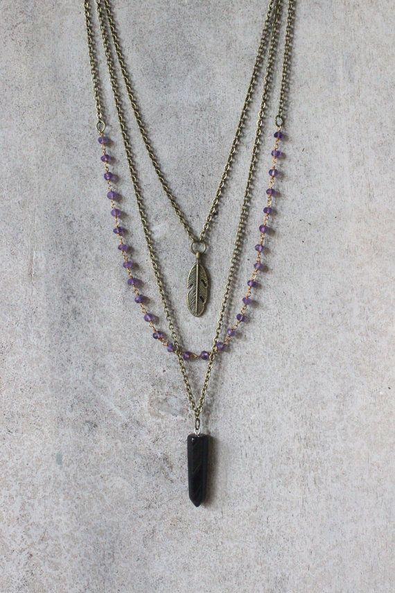 Collier de pierre gemme couches collier collier par AnankeJewelry