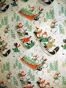 VINTAGE CHRISTMAS WRAPPING PAPER - 1940S - 2 YARDS ADORABLE AND GORGEOUS | eBay