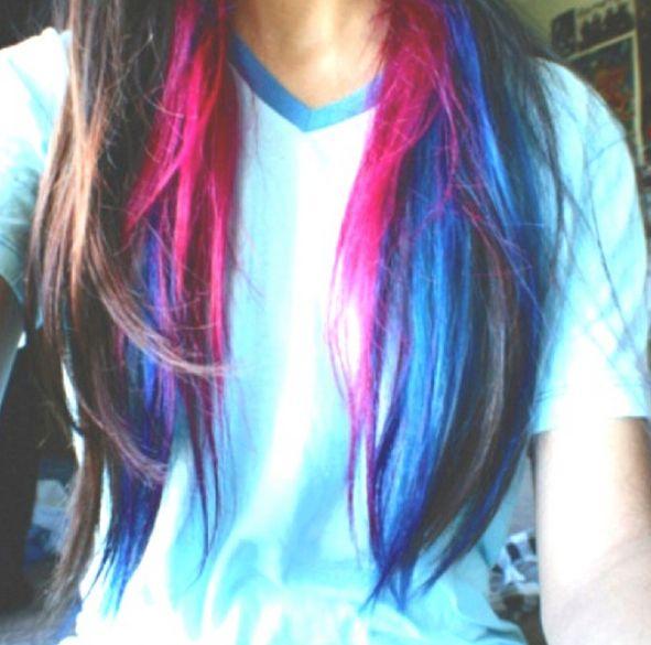 Streaks Of Blue And Pink In Brunette Hair Wooptido