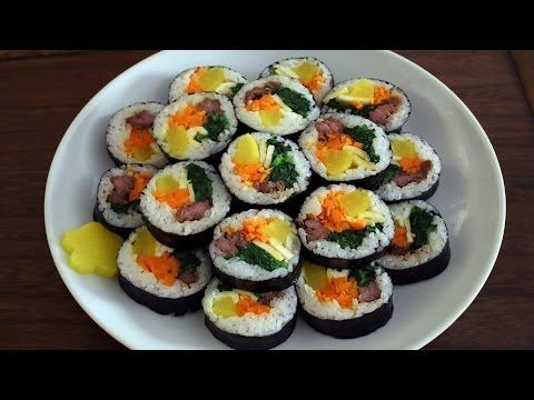 Gimbap recipe - Maangchi.com Korean Sushi - leave out the beef for vegetarian version