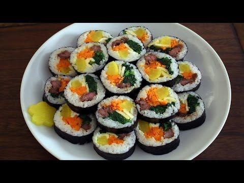 Gimbap recipe - Maangchi.com Korean Sushi - leave out the beef for vegetarian version